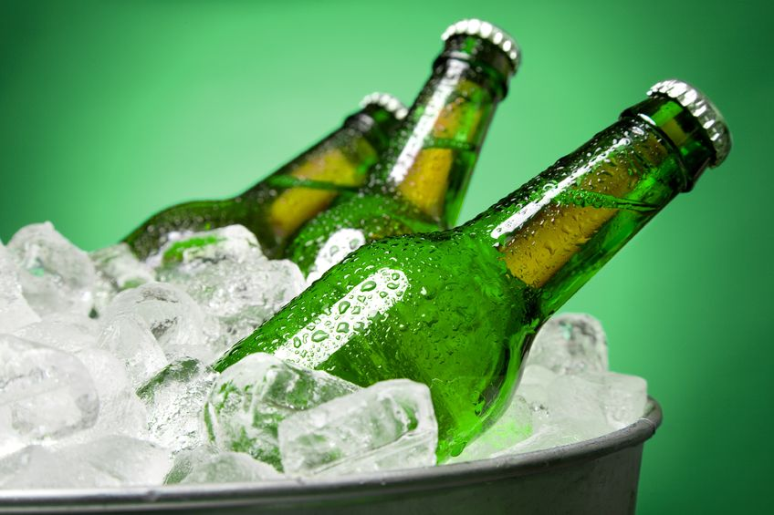 Beer bottles in ice