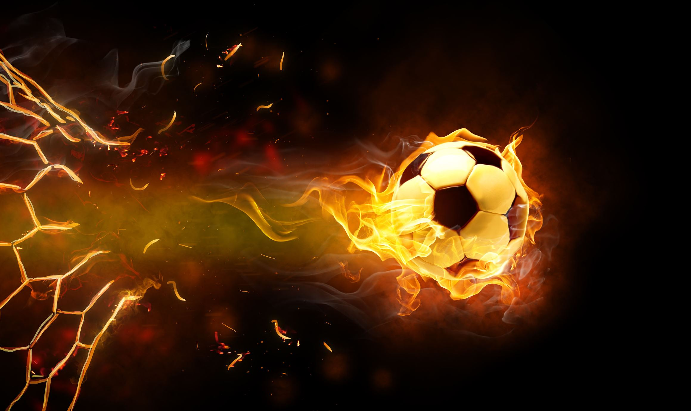 Flaming football smashing through net