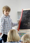 Children with a blackboard