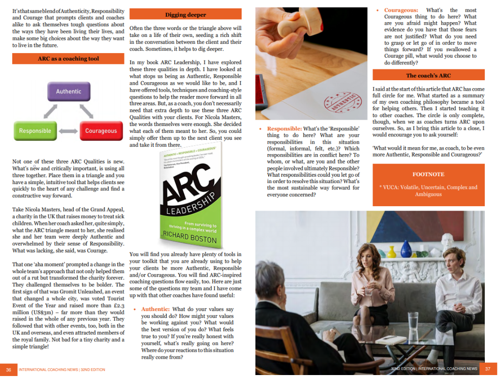 ARC of Coaching article in ICN